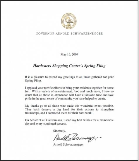 Letter of congratulations from Governor Schwartzenegger.